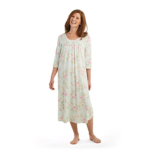 Miss Elaine Nightgown - Women's Chic Midi-Length Gown, 3/4 Sleeves and Beautiful Hand Smocking, Breathable Fabric (Small, Pink/Yellow Spray on Mint)