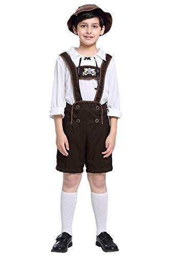 tianxinxishop Jongens Oktoberfest Outfits Beierse Lederhosen Traditionele Kostuum Duitse Bier Festival Shorts met Shirt en Hoed Halloween Cosplay Kostuum