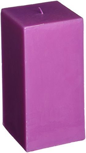 Zest Candle Pillar Candle, 3 by 6-Inch, Purple Square