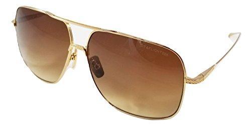 Dita FLIGHT 005 Sonnenbrille in Gold-gebürstetem Pilot Rahmen mit brauner Linse