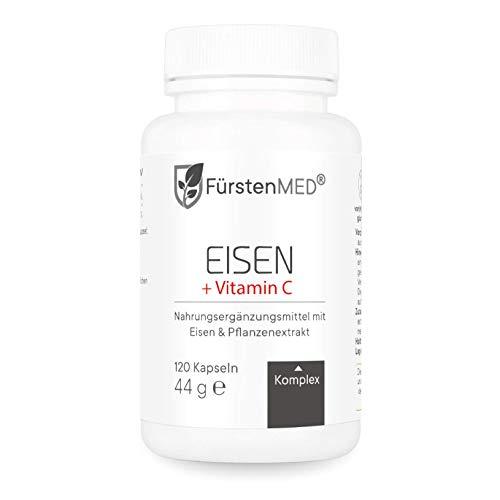 SONDERANGEBOT: FürstenMED® Eisen Kapseln + natürliches Vitamin C - Hochwertiges Eisenbisglycinat - 120 Vegane Eisentabletten aus Deutschland - Laborgeprüft & ohne Zusatzstoffe