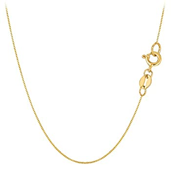 10k Yellow Solid Gold Mirror Box Chain Necklace 0.6mm 18
