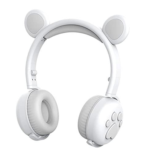 IPOTCH Cute Bear Ear Paws Auriculares inalámbricos con luz LED para niños Orejeras Plegables y cómodas con micrófono 15H Tiempo de música Batería de Larga - Blanco