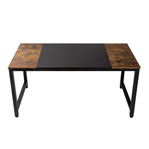 """Computer Desk 55"""", Sturdy Strong Office Home Study Writing Table, Heavy Duty for 200 lbs, w/Thick Metal Leg, Simple Industrial Style Mid-Century Retro for Dual Two Monitors, Rustic Vintage and Black"""