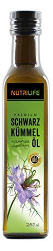 Nutrilife - Schwarzkümmelöl 250ml - 100{0b5da46f792e1d3467071608a8a4c7918813ef86c91f114ef53968c9f00b0d85} pur, ungefiltert, kaltgepresst, vegan - Frischegarantie: täglich mühlenfrisch vom Hersteller aus echten ägyptischen Schwarzkümmelsamen