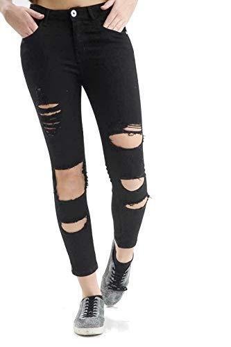 HIGHLAND FASHION LTD Ripped Skinny Jeans Damen Mädchen Damen Celeb Stretch Ripped Skinny High Waist Denim Hosen Jeans Hose Jeans 34-44 mit Tags Gr. 38 DE, Schwarz Destroyed/Ripped Jean (001)
