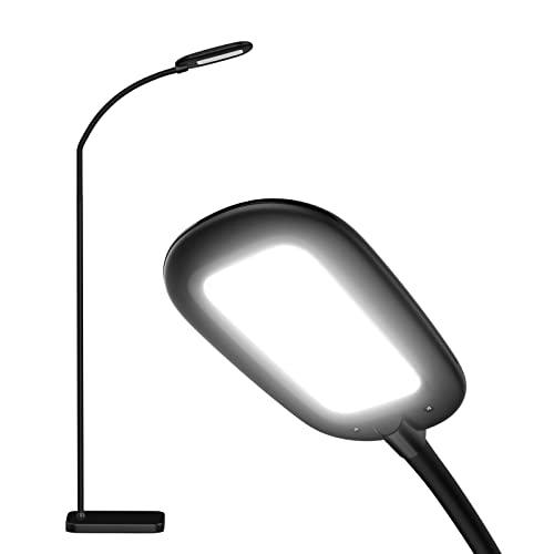 Bbounder LED Stehleuchte mit 4 Helligkeitsstufen und 3 Farbtemperaturen, dimmbare Stehlampe verstellbare Schwanenhals, moderne Leselampe für Wohnzimmer Schlafzimmer Büro Schwarz