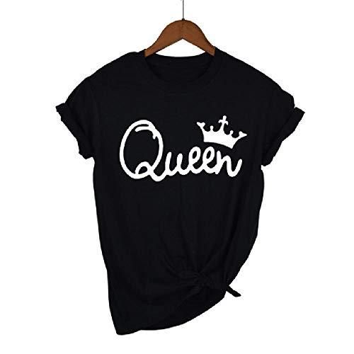 Reine Couples Femmes Chemise Couronne Impression Couple Vêtements D'été T-Shirt Cadeau pour Lady Fille Top Tee