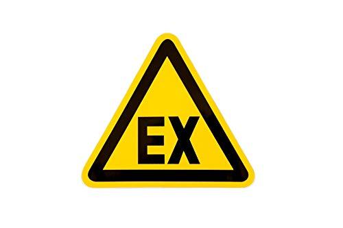 """Aufkleber Warnzeichen EX""""Warnung vor Explosionsfähiger Atmosphäre"""" Folie selbstklebend wetterfest gelb 10cm made by MBS-SIGNS in Germany, Größe: 2 Stück"""