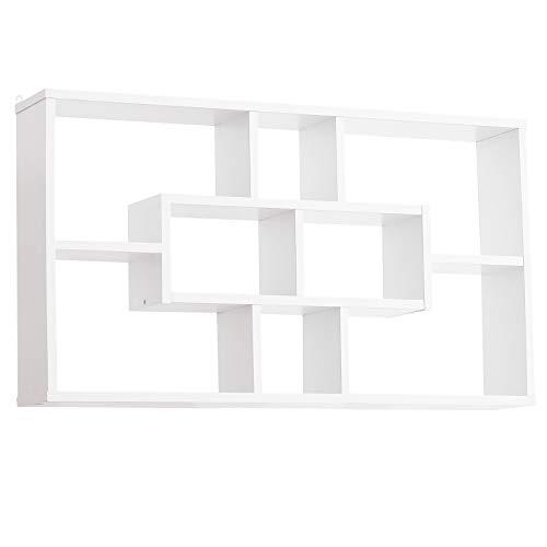 HOMCOM Wandregal Hängeregal Schweberegal Regal Bücherregal Wandboard Organizer Lowboard Holz Weiß 85 x 14,5 x 47,5 cm