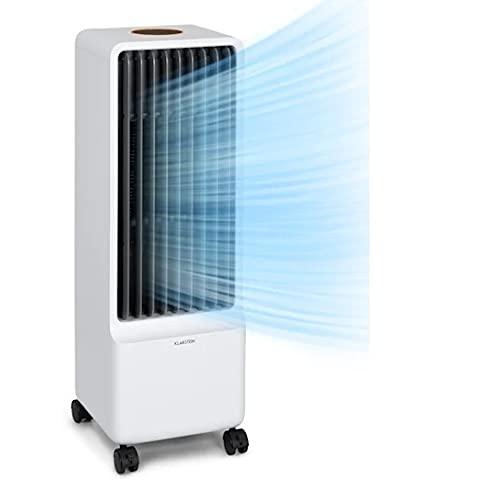 Klarstein Maxflow - Climatizador de aire 3 en 1, Caudal aire hasta 700 m³/h, Potencia 80 W, Temporizador, 4 velocidades, Depósito agua 5 L, Pantalla LED, Oscilación, Ruedas, Control táctil, Bl