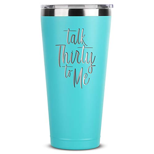 Talk Thirty To Me - 1990 30th Birthday Gifts for Her - 30 oz Mint Insulated Stainless Steel Tumbler w/ Lid - Dirty 30 Birthday Decorations Presents - Cups Mugs Unique Fabulous Personalized Present