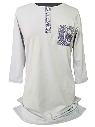 Tchibo TCM Damen Nachthemd Langarm Knielang Nachtwäsche Baumwolle Hellblau (48/50 XL)