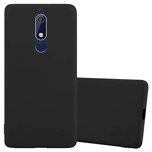 Cadorabo Hülle für Nokia 5.1 / Nokia 5 2018 in Candy SCHWARZ - Handyhülle aus flexiblem TPU Silikon - Silikonhülle Schutzhülle Ultra Slim Soft Back Cover Hülle Bumper