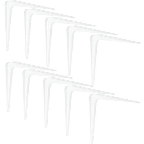 Gedotec Regalträger Metall Regalkonsole 245 mm Stahlblech-Konsole für Wandregale | Regalhalter für die Wand-Montage | Stahl weiß beschichtet | 10 Stück - Winkel-Konsole für Bücher-Regale & Tablare