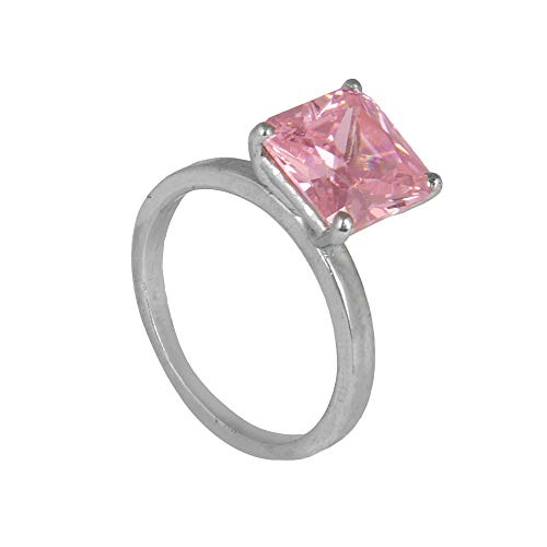 GEMHUB Anillo de plata de ley 925 con circonita rosa de corte cuadrado de 3,10 g, anillo de compromiso US-6.50