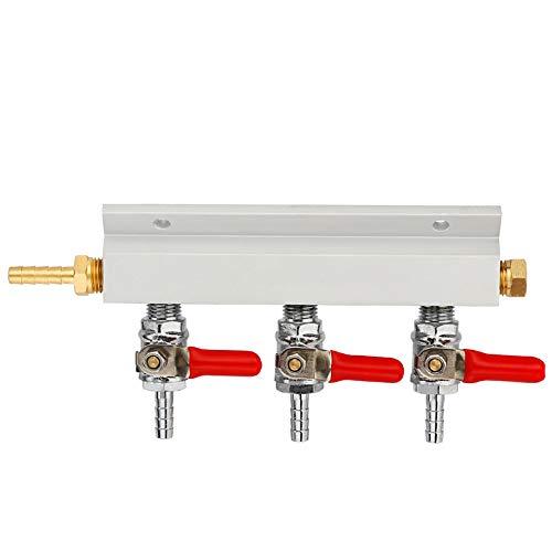 RETYLY 3 Wege Co2 Verteilerblock Für Kohlendioxid Gasverteiler Mit 7mm Schlauch Widerhaken Haushalt Bierbrüh Fassbierspender Fass