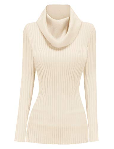 v28 Women Stretchable Cowl Neck Knit Long Sleeve Slim Fit Bodycon Sweater-M,Ivor