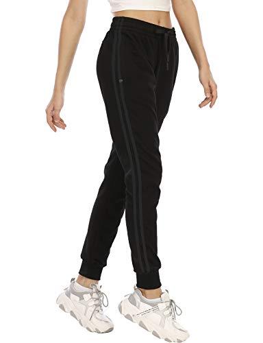 DAFENP Damen Jogginghose Sporthose Baumwolle Slim Fit Trainingshose Bequem Yogahosen Fitness High Waist Freizeithose Jogger Sweathose KZ6039W-BlackBlack-2G-XL