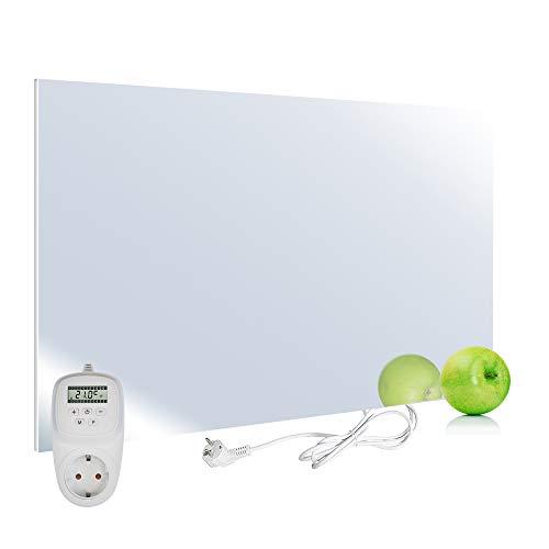 VIESTA H450-SP Calefacción por infrarrojos panel calefactor Carbon Crystal 450 Watt, ultraplano, espejo, Termostato TH12