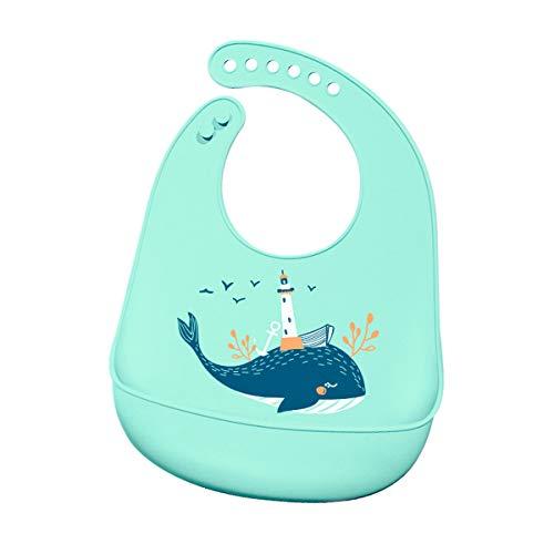 Geagodelia Bavaglino in Silicone per Neonato Impermeabile Modello di Frutta Animale dei Cartoni Animati Bavaglino Regolabile per Neonati 6 mesi a 4 anni (Balena, Taglia unica)