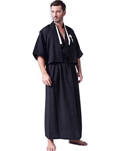 Black Sugar - Kimono lungo da uomo tradizionale Yukata giapponese Cosplay, taglia unica M/L/XL o 38/40/42 Nero taglia unica