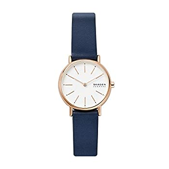 Skagen Women s Signatur Quartz Analog Stainless Steel and Leather Watch Color  Blue/Rose Gold  Model  SKW2838