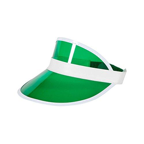 cappello 80 anni Cappello da poker unisex anni '80 con visiera parasole e cappello da golf neon pub cervo rave danza cappello fascia di ultima gamma di colori (visiera verde)