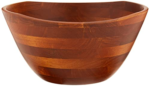 Lipper International Cherry Finished Wavy Rim Serving Bowl for Fruits or Salads, Large, 11.75' Diameter x 6' Height, Single Bowl