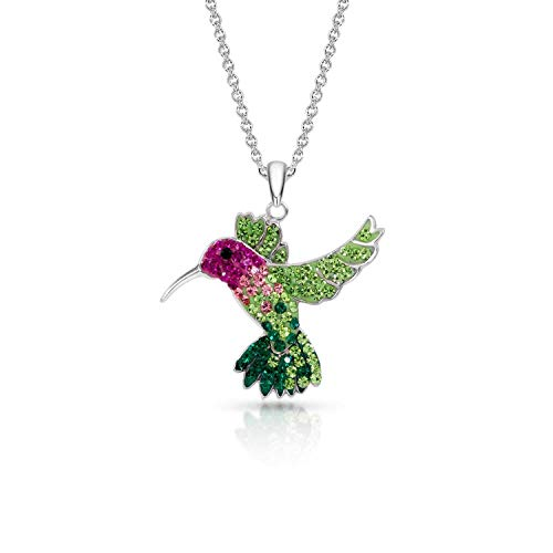 BLING BIJOUX Colorful Crystal Flying Hummingbird Pendant Necklace Never Rust 925 Sterling Silver Natural and Hypoallergenic Chain with Free Breathtaking Gift Box for a Special Moment of Love