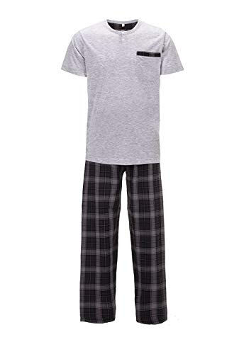 Zeitlos Pyjama Herren Kurzarm Karo Lange Hose, Farbe:grau, Größe:XL
