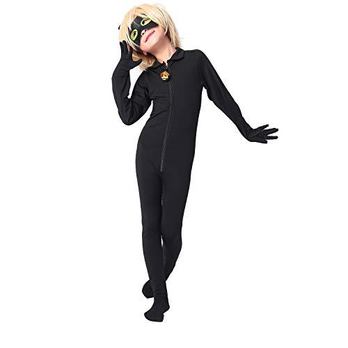 Modi Kinder Marienkäfer Cat Noir Cosplay Overall Jungen Mädchen Kostüm für Halloween Christmas Party Overall (XS, Keine Perücke)