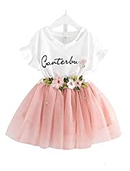 Maelie Baby Girl Butterfly Sleeve White top with Floral Tutu Skirt Set.