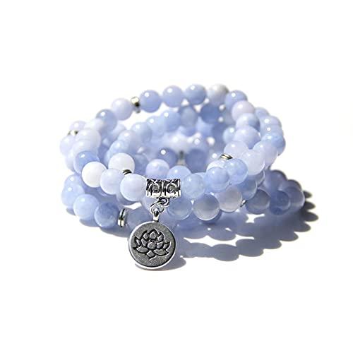 108 Mala aguamarinas con Lotus OM Buddha Charm Yoga Pulsera o collar para mí Mujeres Joyería de piedra natural azul