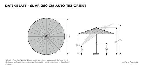 Doppler Aluminium Sonnenschirm Asia Look SL-AZ 250 Auto Tilt - Ideal für den Garten - ca. 250 cm - Knickbar - Anthrazit