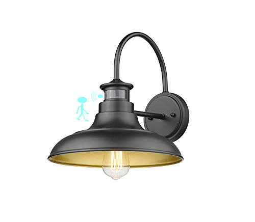 Rosient Farmhouse Wall Lights, Infrared Montion Sense Outdoor Wall Barn Lighting, Industrial Wall Sconces, Exterior Wall Lighting Fixture (Black Finish with Copper Interior, 1 Pack)