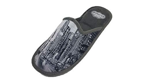 Zapatillas de Estar por casa/Hombre/Biorelax/Dibujo Rascacielos/Empeine Grenoble/Cámara de Aire/Talón Acolchado/Suela Goma/Talla 41