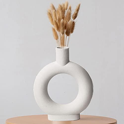 Liseng Keramik Boden Vase für Pampasgras Getrocknete Blumen, Moderne Abstraktion Ornamente Blumenvase for tischdeko Wohndekoration, Weiß