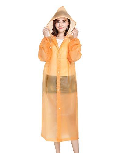 YJJY Dames Transparante Hooded Regenjas EVA Noodgeval Lichtgewicht Lange Regenkleding Mode Outdoor Camping/reizen/bergbeklimmen, Oranje