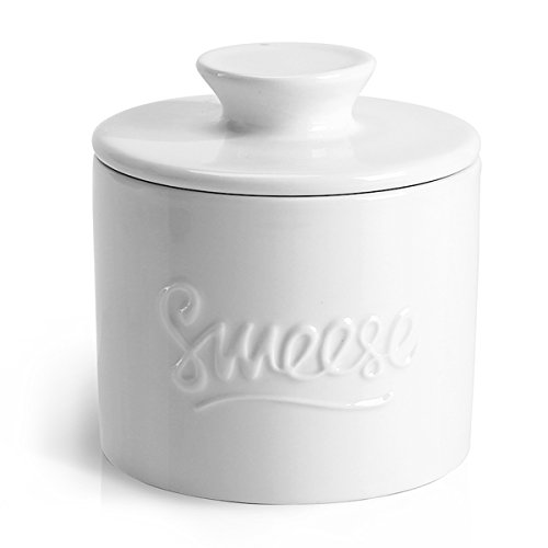 Sweese 304.101 Porcelain Butter Keeper Crock - French Butter Dish - No More Hard Butter - Perfect Spreadable Consistency, White