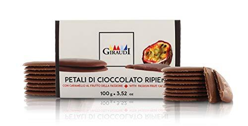 Petali Ripieni, Cioccolato al Latte con Cuore di Caramello al frutto della Passione, 100 Grammi, Linea Petali