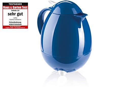 Leifheit Columbus 1, 0 L Isolierkanne, 100% dicht, Thermoskanne mit bewährter Aromataste, praktisches Öffnen und Schließen mit einer Hand, Kaffekanne, Teekanne, dunkelblau, hochglanz