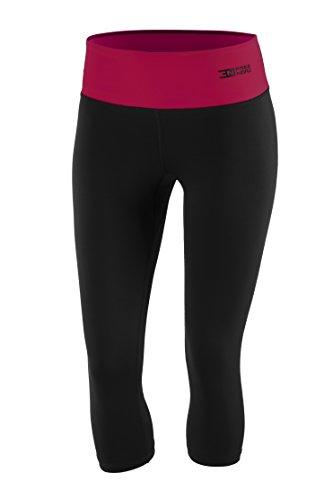 Fittech Performance Legging thermoactif pour femme, short moulant, pantalon 3/4 pour fitness, yoga, sports d'extérieur, cyclisme, course à pied XL Schwarz/Amarant