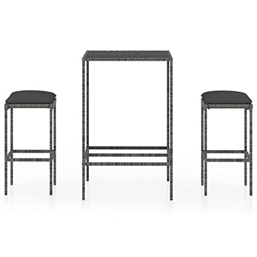 vidaXL Set da giardino da 3 pezzi, con cuscini e tavolino da bar, tavolo da bar, sgabello da bar in polyrattan grigio