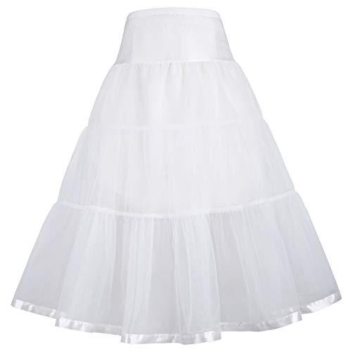 Niñas Enaugas por la Rodilla de Dos Capas Falda Rockabilly 50s Blanco 12~13...