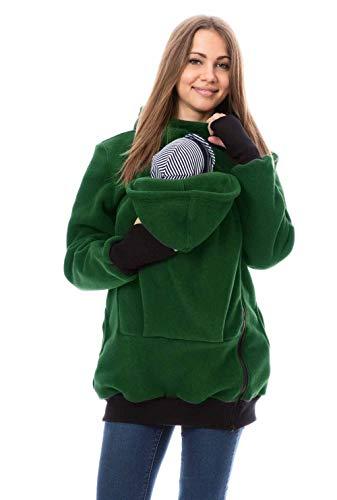 GoFuture 4in1 Babytragejacke für Mama,Papa und Baby Känguru Tragejacke aus Fleece mit Baby und Schwangerschaftseinsatz (S, Grün)
