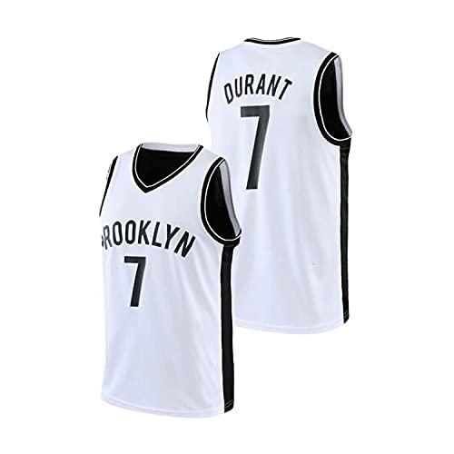 XZWQ Camiseta De La NBA para Hombre - Brooklyn Nets # 7 Kevin Durant Camisetas De Baloncesto Unisex Camisetas De Baloncesto De Malla Bordadas Camiseta Sin Mangas,Blanco,L