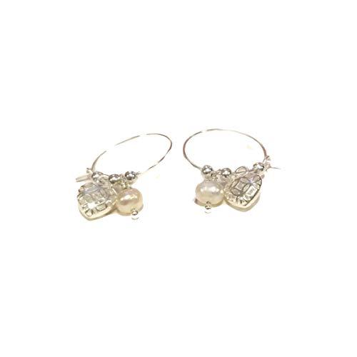 Disfraz RPS4004S – Pendientes de microhilo con corazón perforado perla, chapados en plata