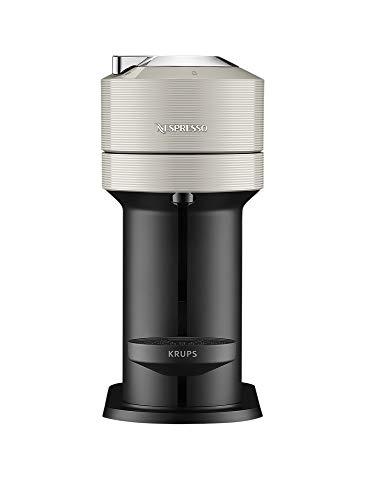 Krups XN911B Nespresso Vertuo Next Kaffeekapselmaschine + Aeroccino Milchaufschäumer | 1,7 L Wassertank | Kapselerkennung durch Barcode | 5 Tassengrößen | aus 54 % recyceltem Kunststoff | Light Grey