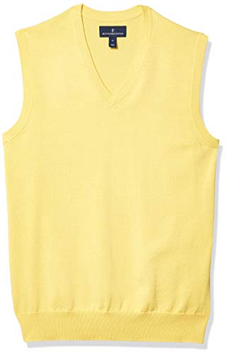 Amazon Brand - Buttoned Down Men's 100% Supima Cotton Sweater Vest, Yellow, Large